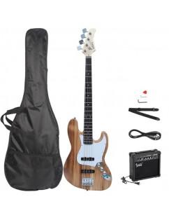 Glarry GJazz Bass with Electirc Bass Amplifier Power Wire Tools Burlywood