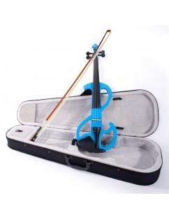 High-grade 8 Pattern Electroacoustic Violin Kit (Case   Bow   Rosin) Blue