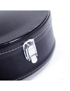 Glarry F-Style Microgroove Pattern Leather Wood Mandolin Case Black