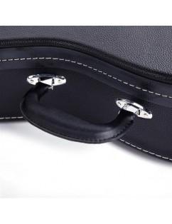 Glarry Hardshell A-Style Microgroove Pattern Leather Wood Mandolin Case Black