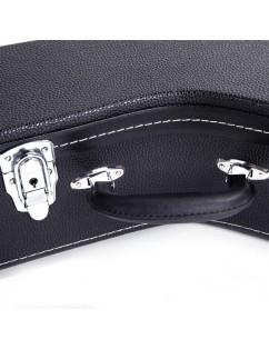 Glarry 5-String 6-String Microgroove Pattern Leather Wood Banjos Case Black