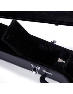 Glarry 4-String Microgroove Pattern Leather Wood Banjos Case Black