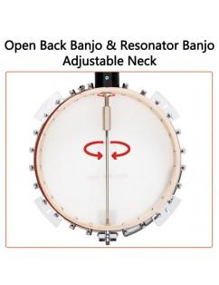 Glarry 6-String Resonator Banjo Right Handed Back & Sides Sapele with Strings